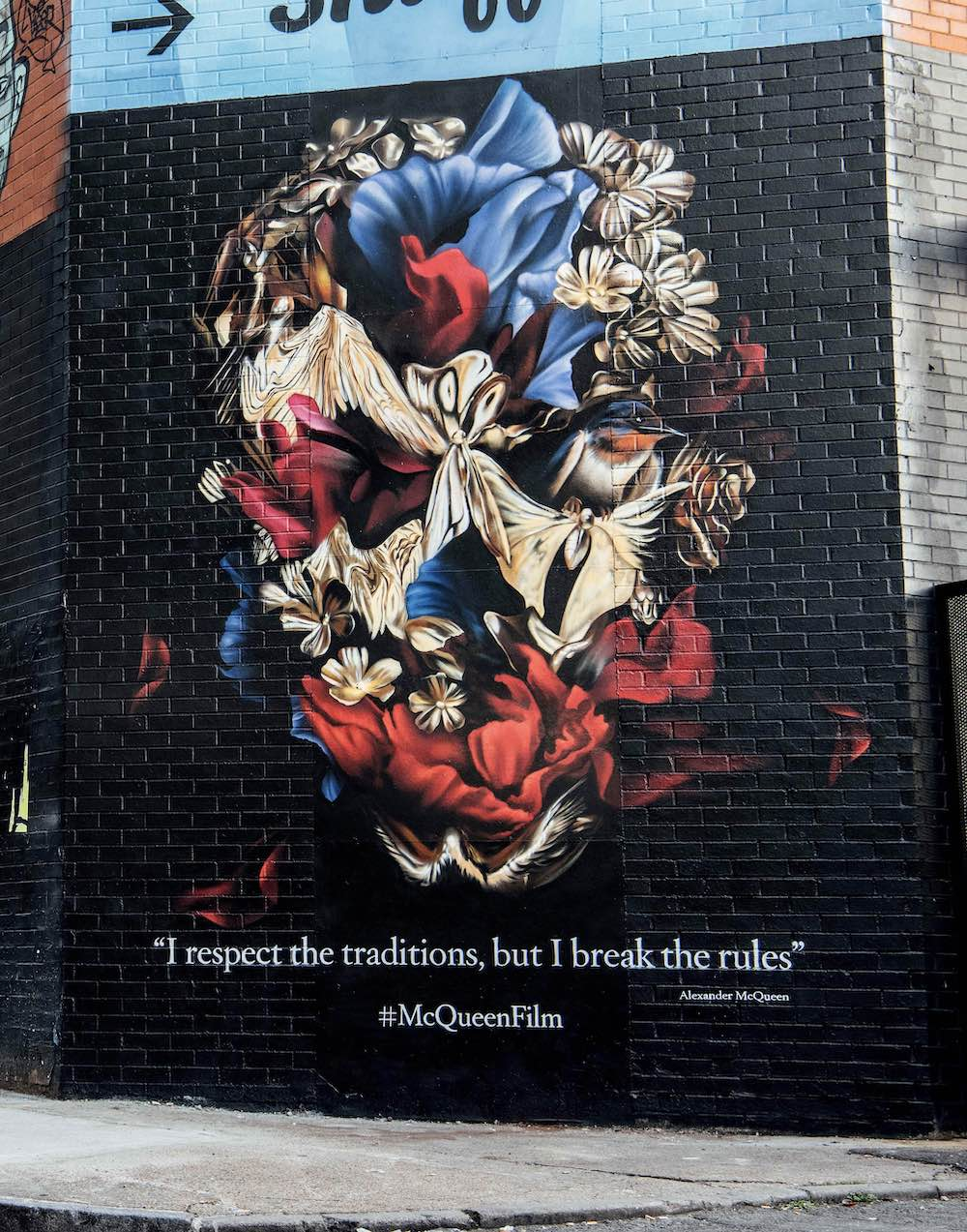 87f0ff380 A commemorative Alexander McQueen mural created by Graffiti Life's Sophie  Meseg marking the release of the documentary McQueen (2018)